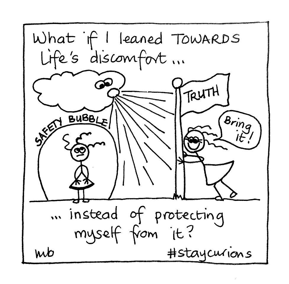 Mich Bondesio - Doodles - What if I leaned towards Life's discomfort, instead of protecting myself from it.