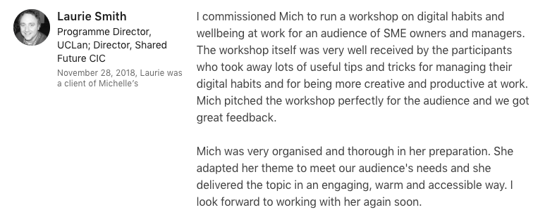 Laurie Smith Lancashire Forum Creative LinkedIn Testimonial for Growth Sessions
